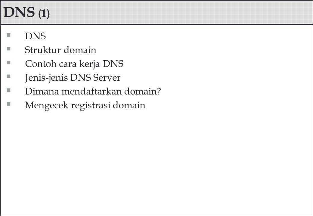 DNS (1) DNS Struktur domain Contoh cara kerja DNS