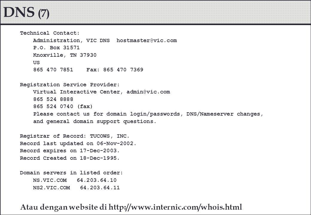 DNS (7) Atau dengan website di http://www.internic.com/whois.html