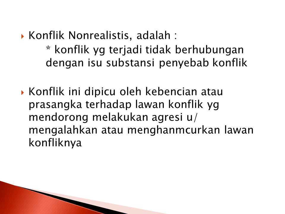 Konflik Nonrealistis, adalah :