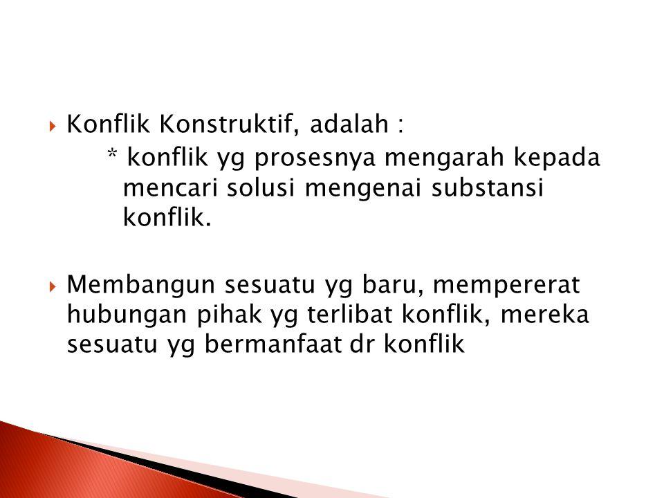 Konflik Konstruktif, adalah :