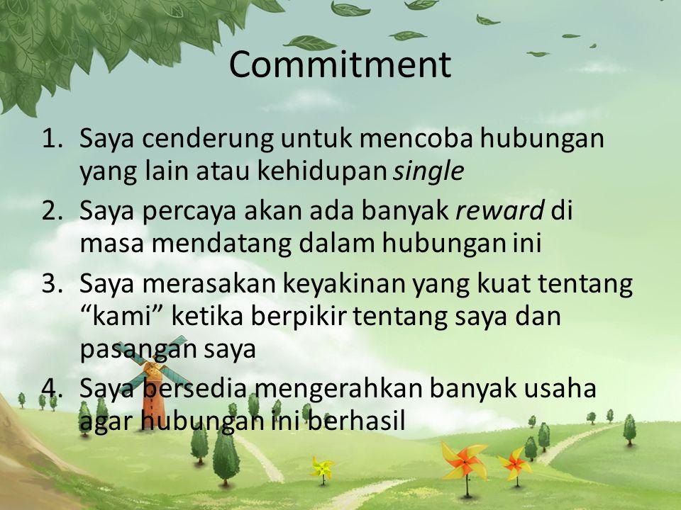 Commitment Saya cenderung untuk mencoba hubungan yang lain atau kehidupan single.
