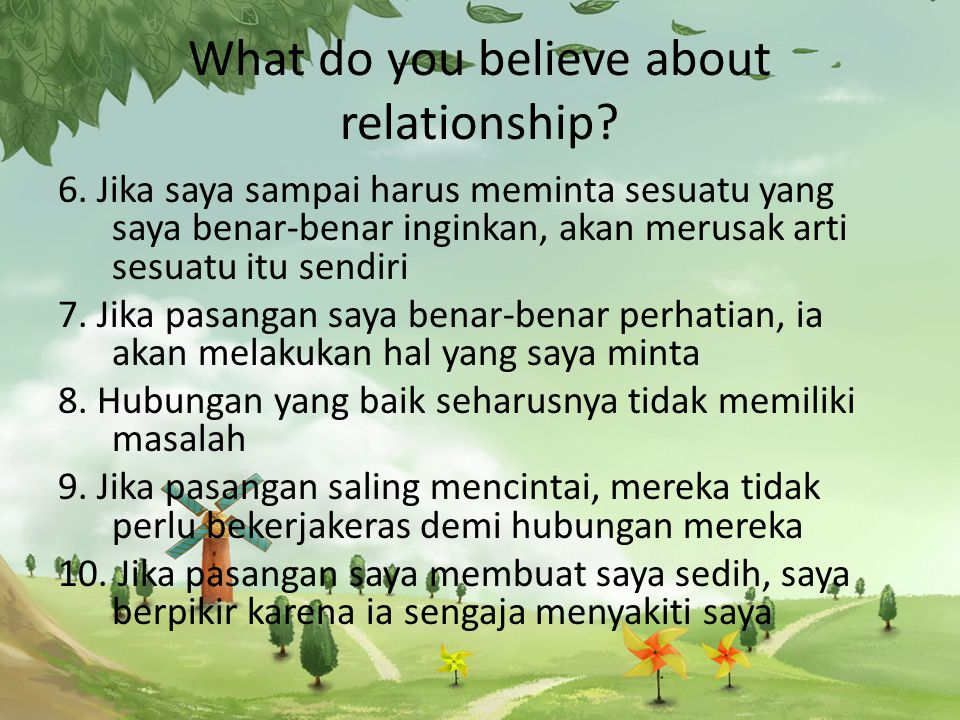 What do you believe about relationship