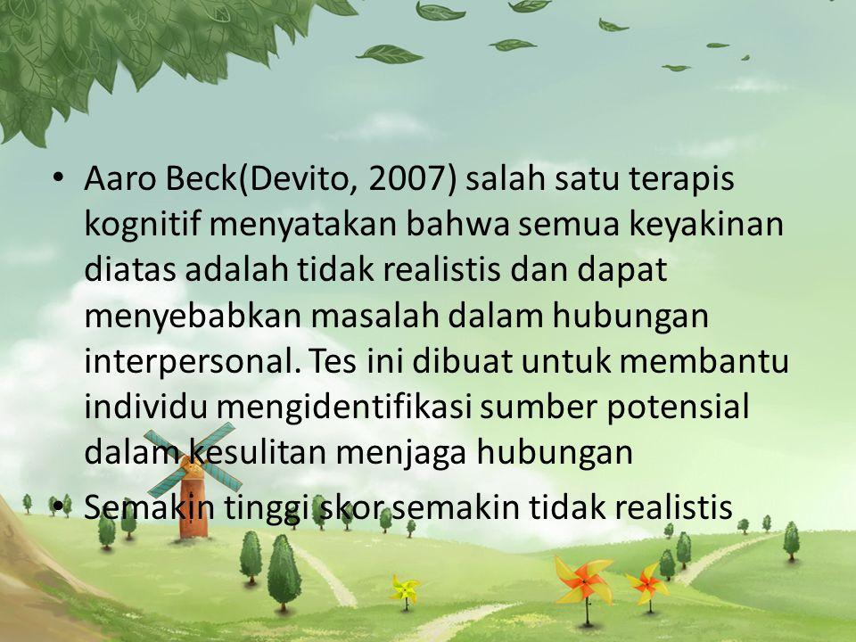 Aaro Beck(Devito, 2007) salah satu terapis kognitif menyatakan bahwa semua keyakinan diatas adalah tidak realistis dan dapat menyebabkan masalah dalam hubungan interpersonal. Tes ini dibuat untuk membantu individu mengidentifikasi sumber potensial dalam kesulitan menjaga hubungan