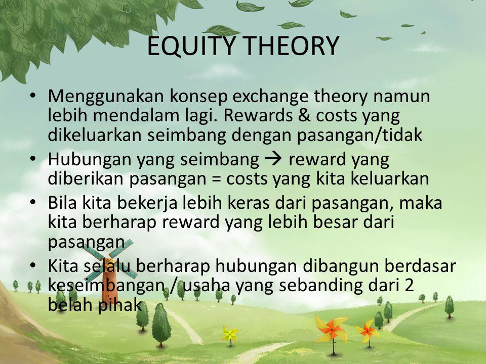 EQUITY THEORY Menggunakan konsep exchange theory namun lebih mendalam lagi. Rewards & costs yang dikeluarkan seimbang dengan pasangan/tidak.