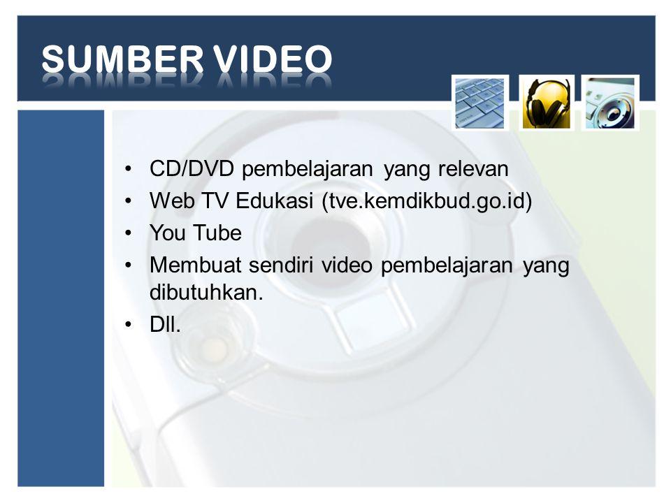 SUMBER VIDEO CD/DVD pembelajaran yang relevan