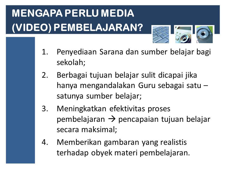 MENGAPA PERLU MEDIA (VIDEO) PEMBELAJARAN