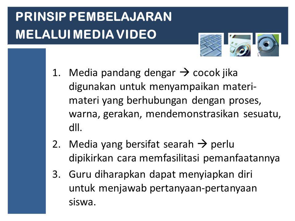 PRINSIP PEMBELAJARAN MELALUI MEDIA VIDEO