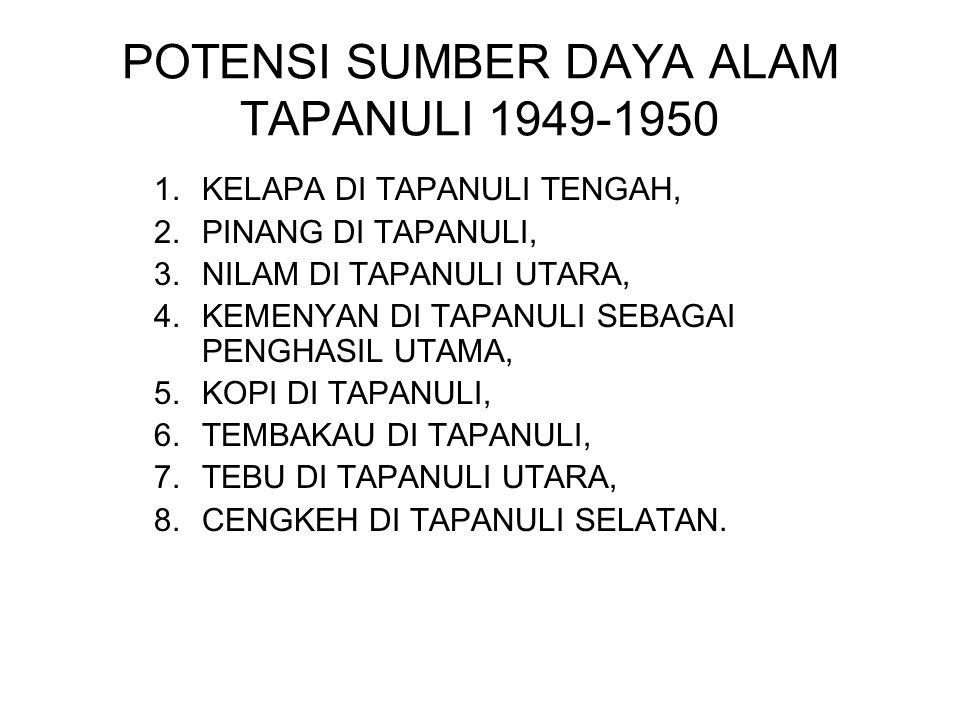 POTENSI SUMBER DAYA ALAM TAPANULI 1949-1950