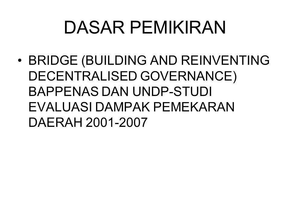 DASAR PEMIKIRAN BRIDGE (BUILDING AND REINVENTING DECENTRALISED GOVERNANCE) BAPPENAS DAN UNDP-STUDI EVALUASI DAMPAK PEMEKARAN DAERAH 2001-2007.