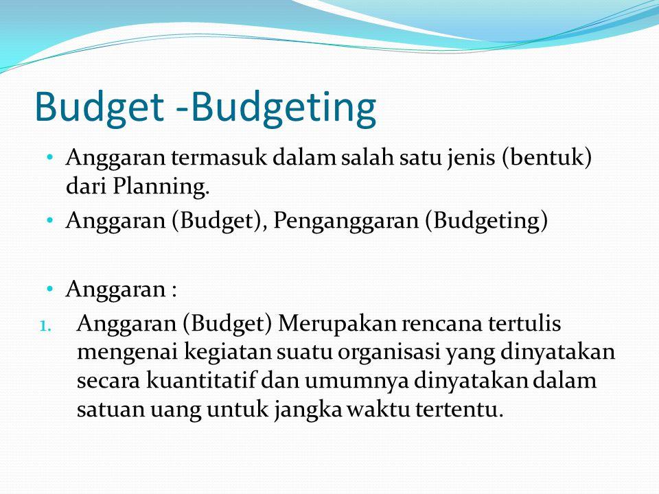 Budget -Budgeting Anggaran termasuk dalam salah satu jenis (bentuk) dari Planning. Anggaran (Budget), Penganggaran (Budgeting)