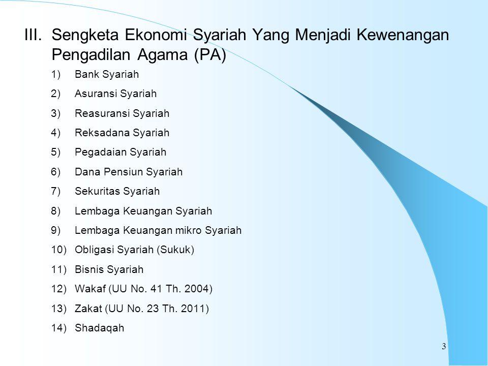 Sengketa Ekonomi Syariah Yang Menjadi Kewenangan Pengadilan Agama (PA)