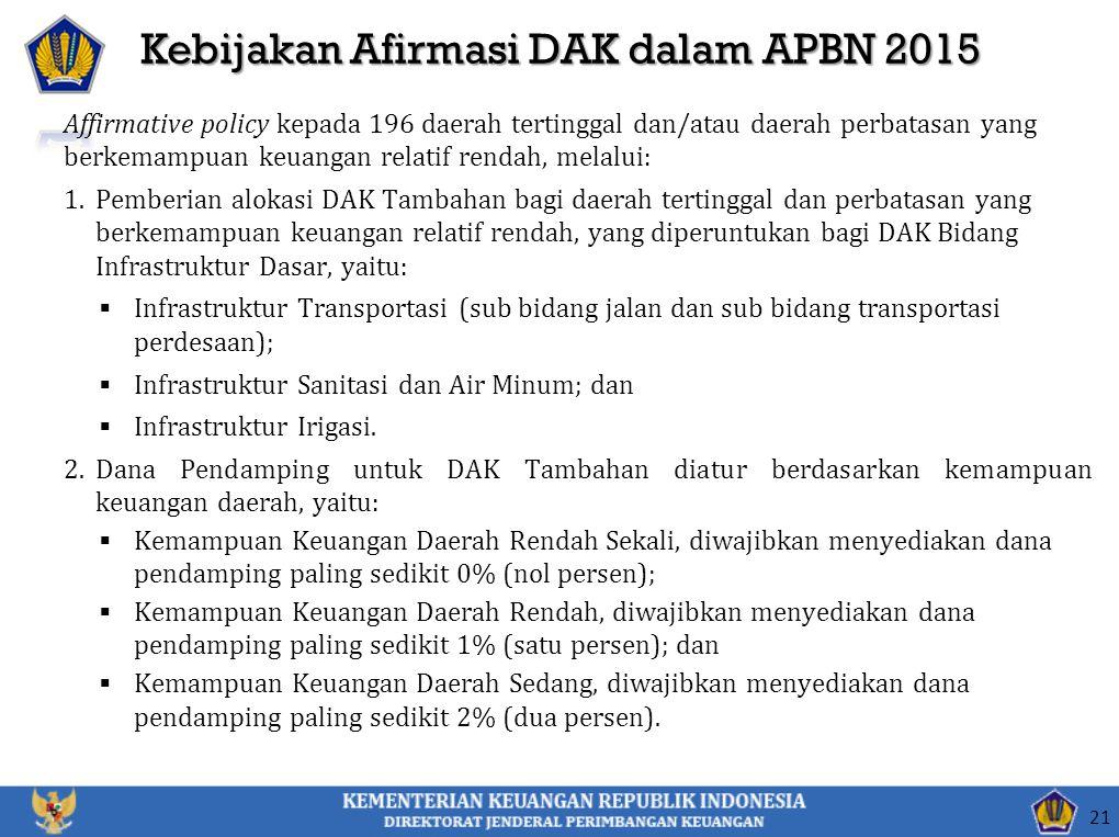 Kebijakan Afirmasi DAK dalam APBN 2015