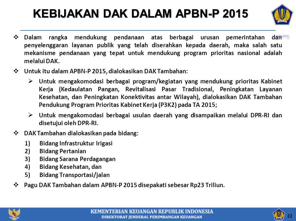 KEBIJAKAN DAK DALAM APBN-P 2015