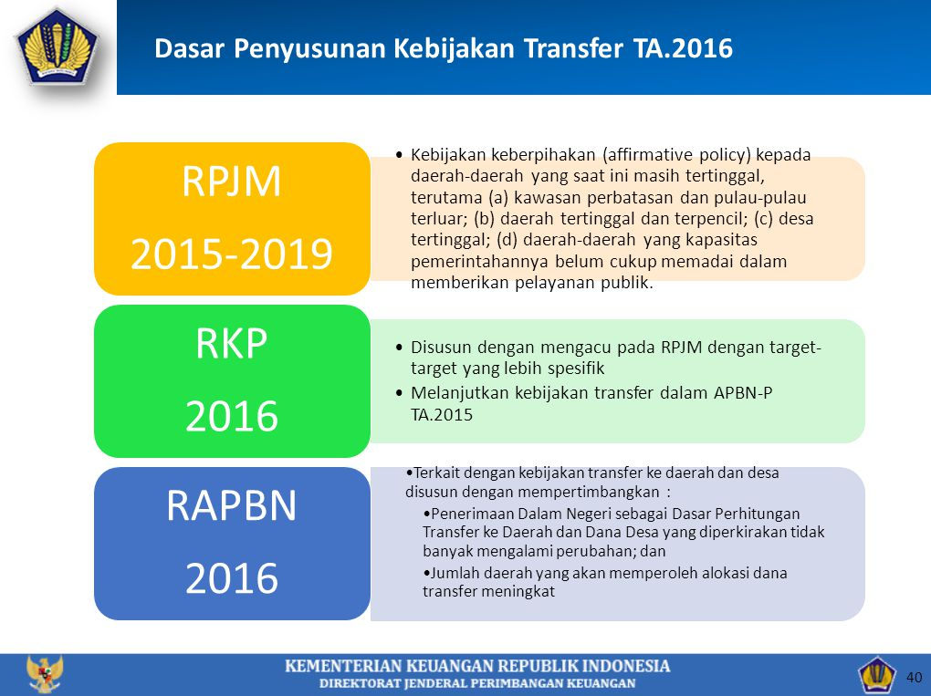 Dasar Penyusunan Kebijakan Transfer TA.2016