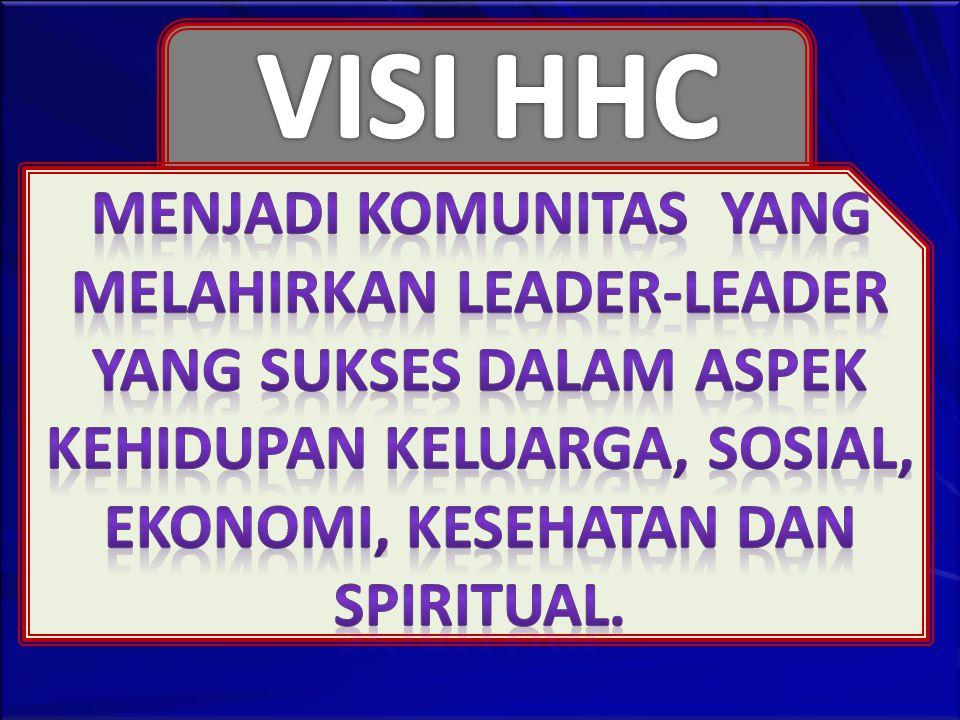 VISI HHC MENJADI KOMUNITAS YANG MELAHIRKAN LEADER-LEADER YANG SUKSES DALAM ASPEK KEHIDUPAN KELUARGA, SOSIAL, EKONOMI, KESEHATAN DAN SPIRITUAL.