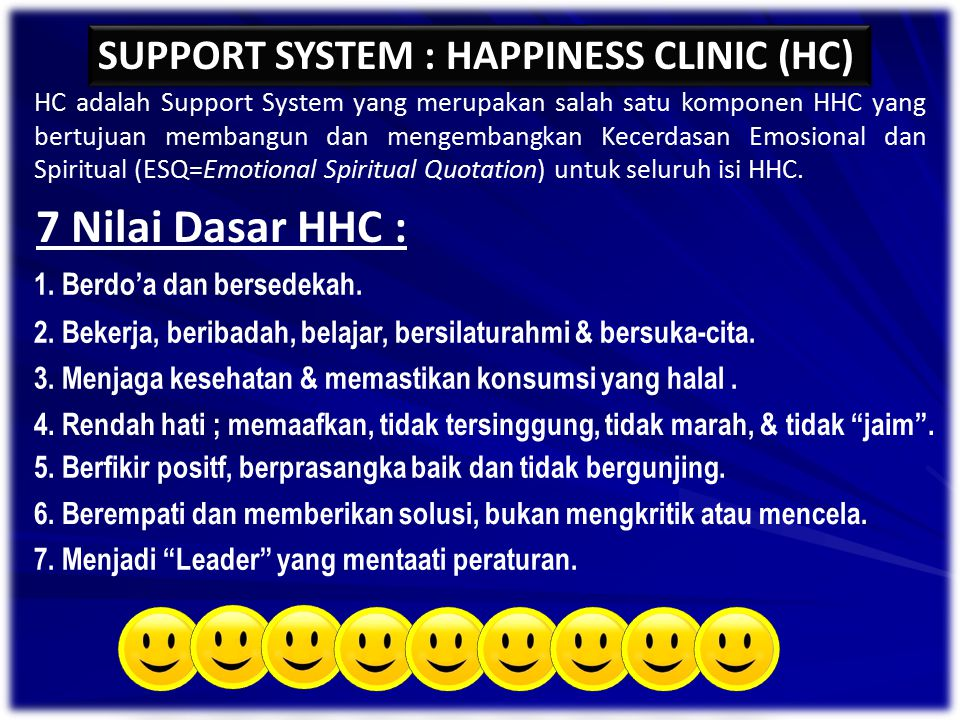 7 Nilai Dasar HHC : SUPPORT SYSTEM : HAPPINESS CLINIC (HC)