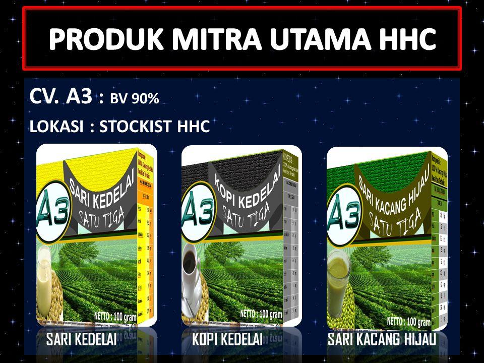 PRODUK MITRA UTAMA HHC CV. A3 : BV 90% LOKASI : STOCKIST HHC