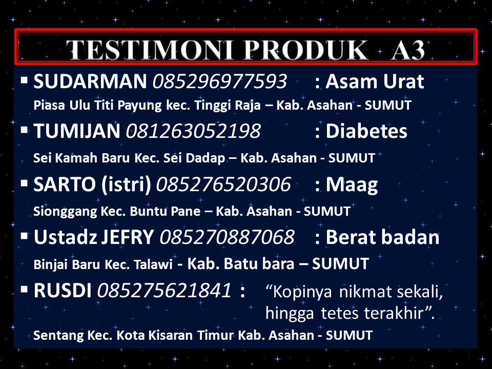 TESTIMONI PRODUK A3 SUDARMAN 085296977593 : Asam Urat