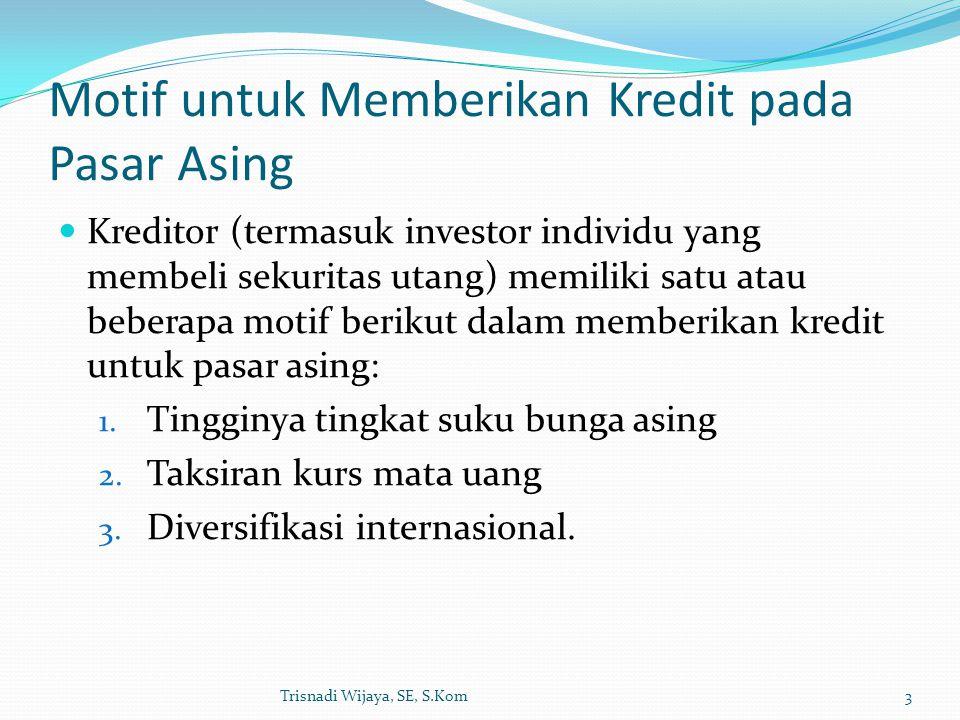 Motif untuk Memberikan Kredit pada Pasar Asing