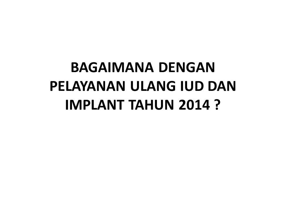 BAGAIMANA DENGAN PELAYANAN ULANG IUD DAN IMPLANT TAHUN 2014