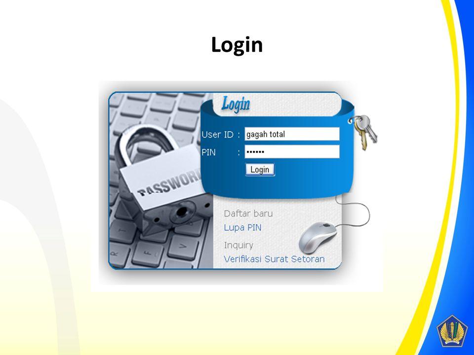 Login Gunakan user ID dan PIN yang tertera pada e-mail