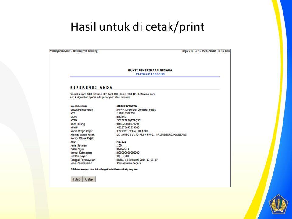Hasil untuk di cetak/print