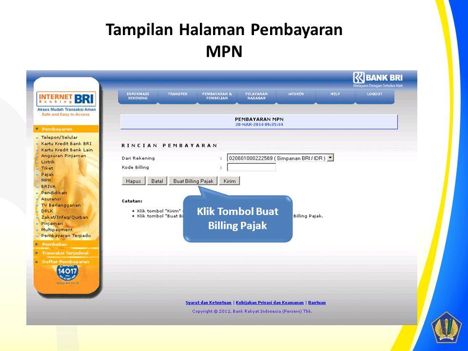 Tampilan Halaman Pembayaran MPN Klik Tombol Buat Billing Pajak