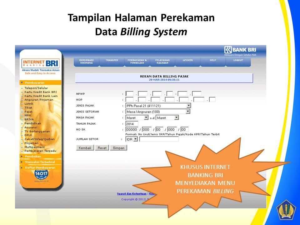 Tampilan Halaman Perekaman Data Billing System