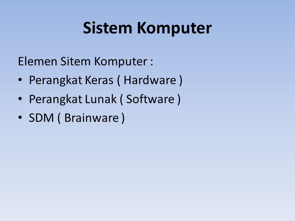Sistem Komputer Elemen Sitem Komputer : Perangkat Keras ( Hardware )