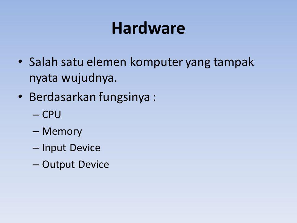 Hardware Salah satu elemen komputer yang tampak nyata wujudnya.
