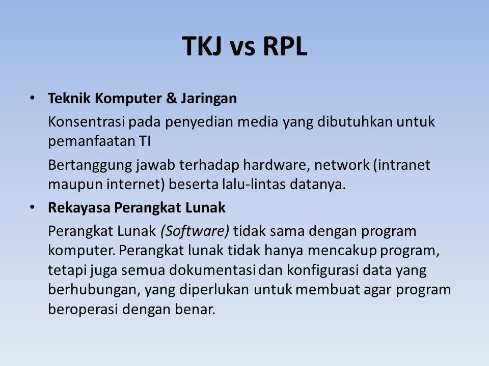 TKJ vs RPL Teknik Komputer & Jaringan