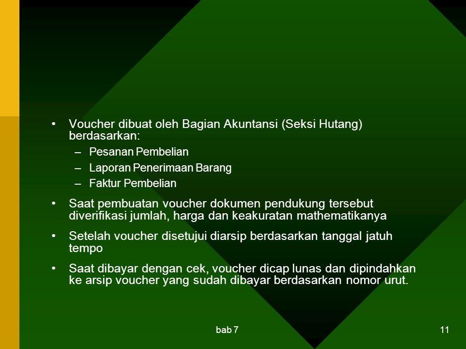 Voucher dibuat oleh Bagian Akuntansi (Seksi Hutang) berdasarkan: