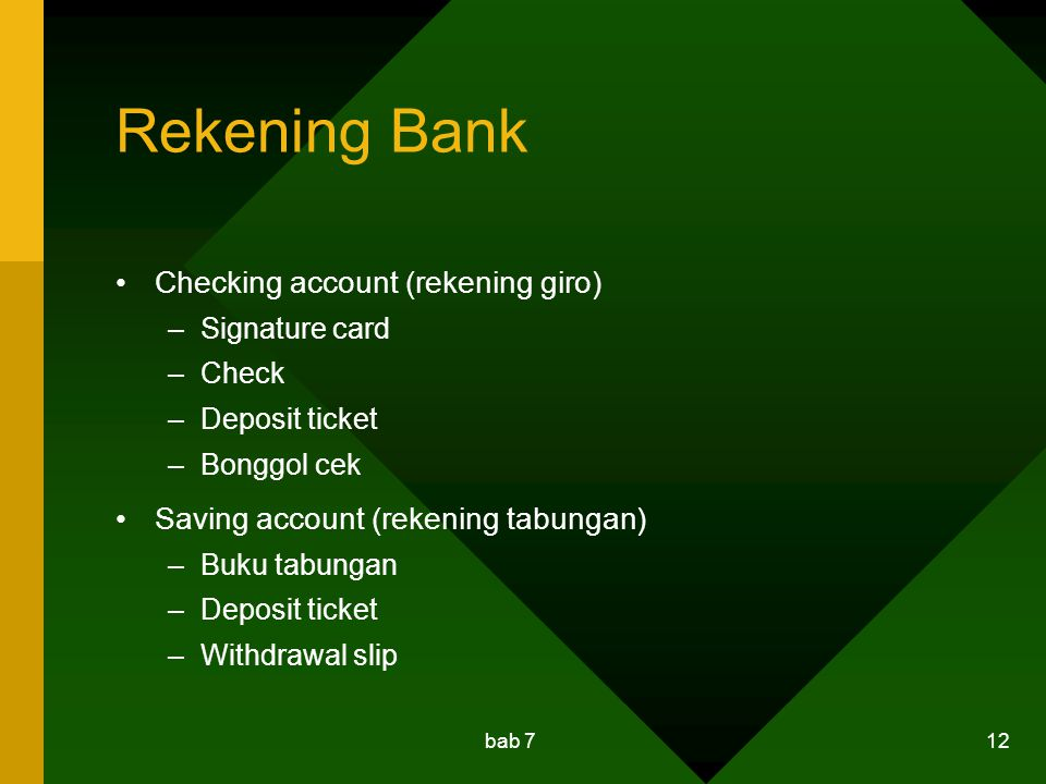 Rekening Bank Checking account (rekening giro)