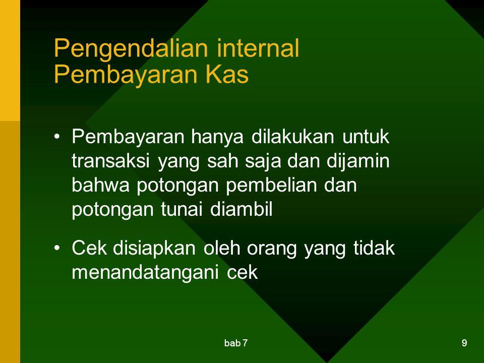 Pengendalian internal Pembayaran Kas