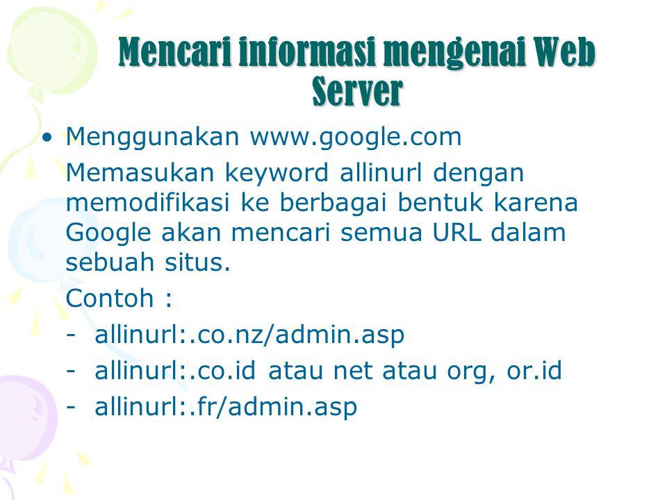 Mencari informasi mengenai Web Server