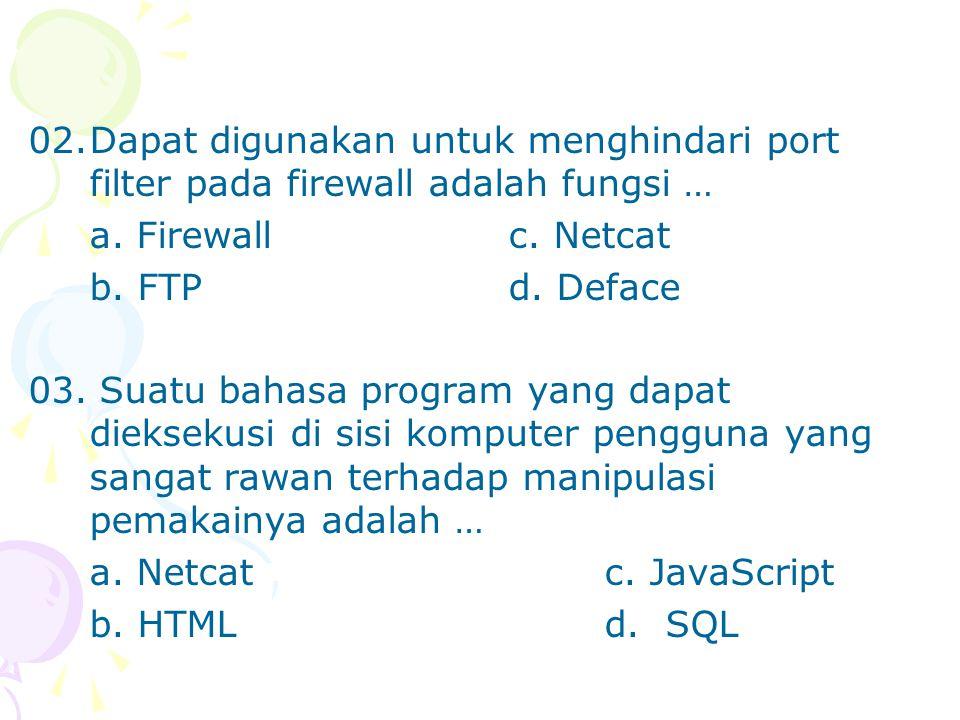 02. Dapat digunakan untuk menghindari port filter pada firewall adalah fungsi …