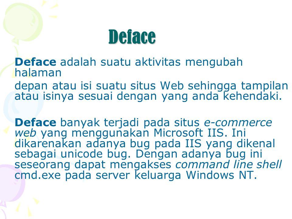 Deface Deface adalah suatu aktivitas mengubah halaman