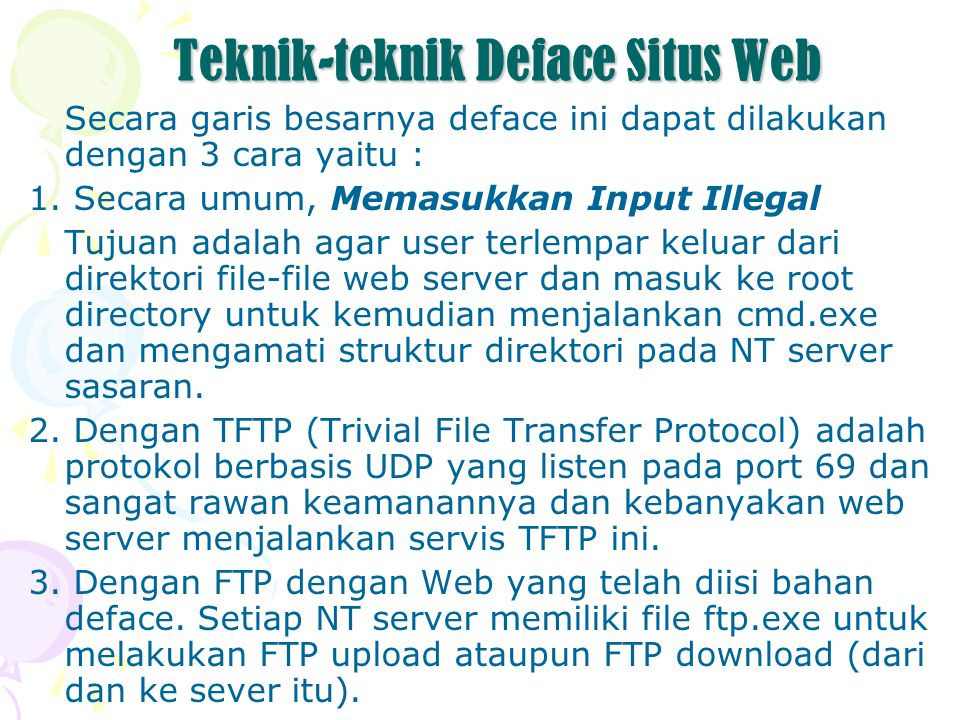 Teknik-teknik Deface Situs Web