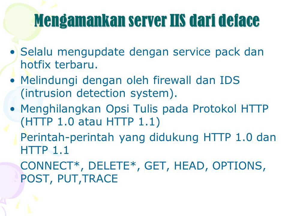 Mengamankan server IIS dari deface