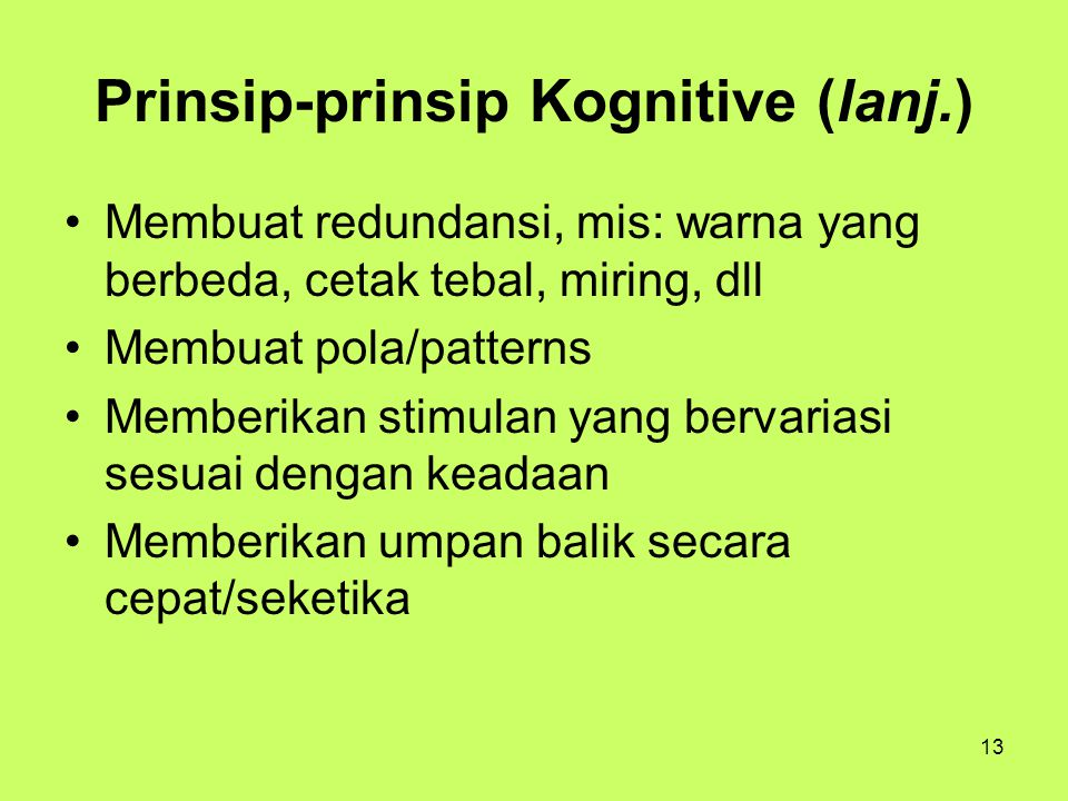 Prinsip-prinsip Kognitive (lanj.)