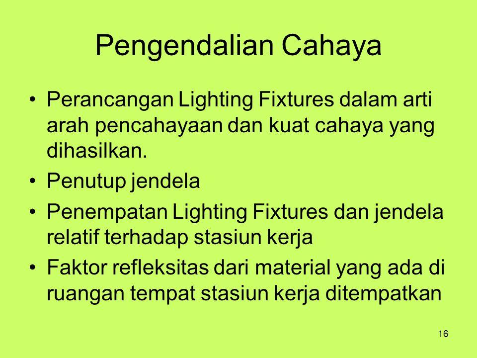 Pengendalian Cahaya Perancangan Lighting Fixtures dalam arti arah pencahayaan dan kuat cahaya yang dihasilkan.