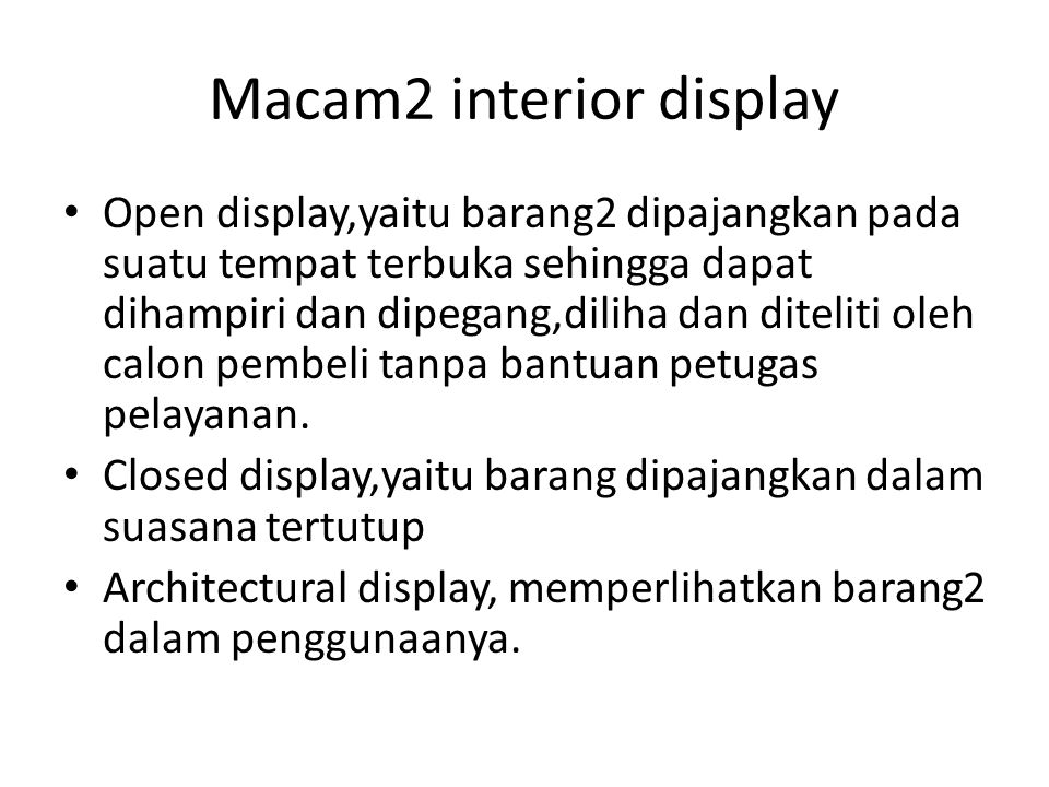 Macam2 interior display