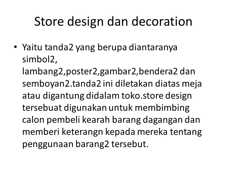 Store design dan decoration