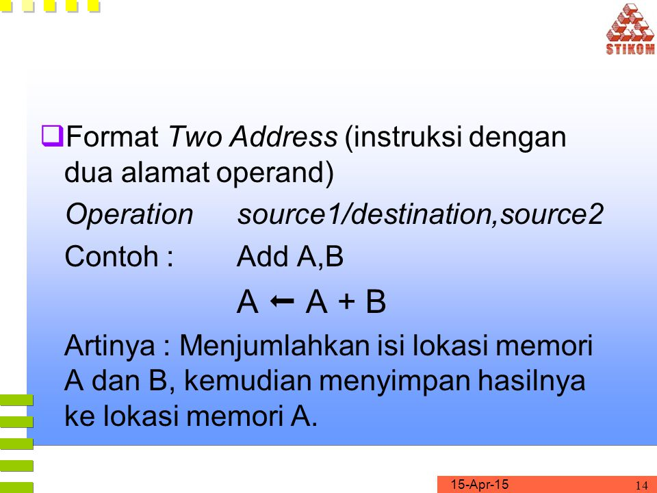 Format Two Address (instruksi dengan dua alamat operand)