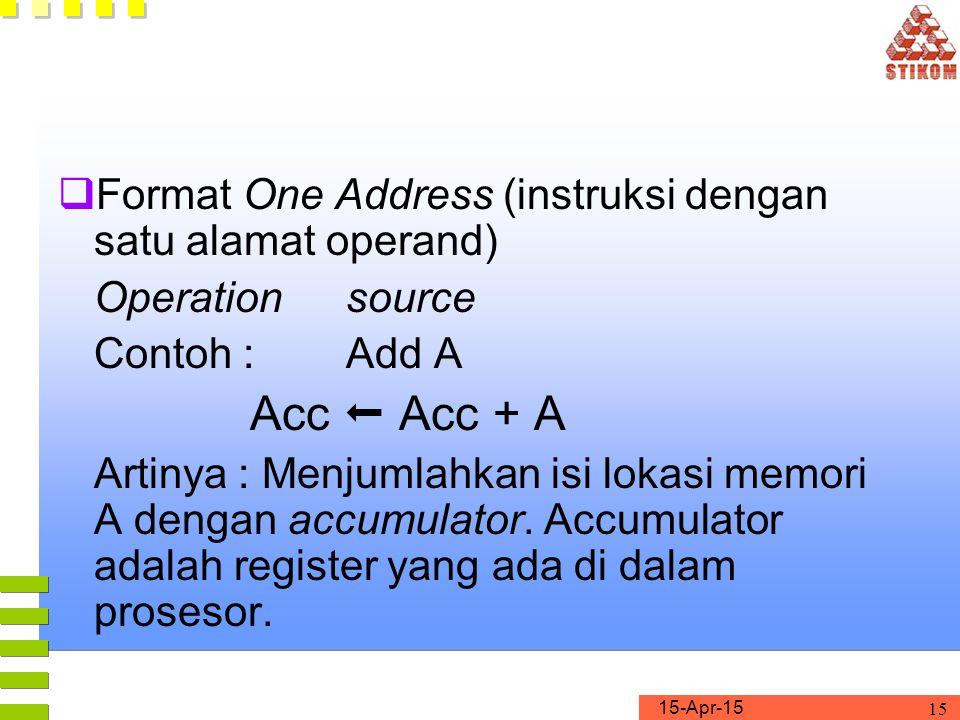 Format One Address (instruksi dengan satu alamat operand)