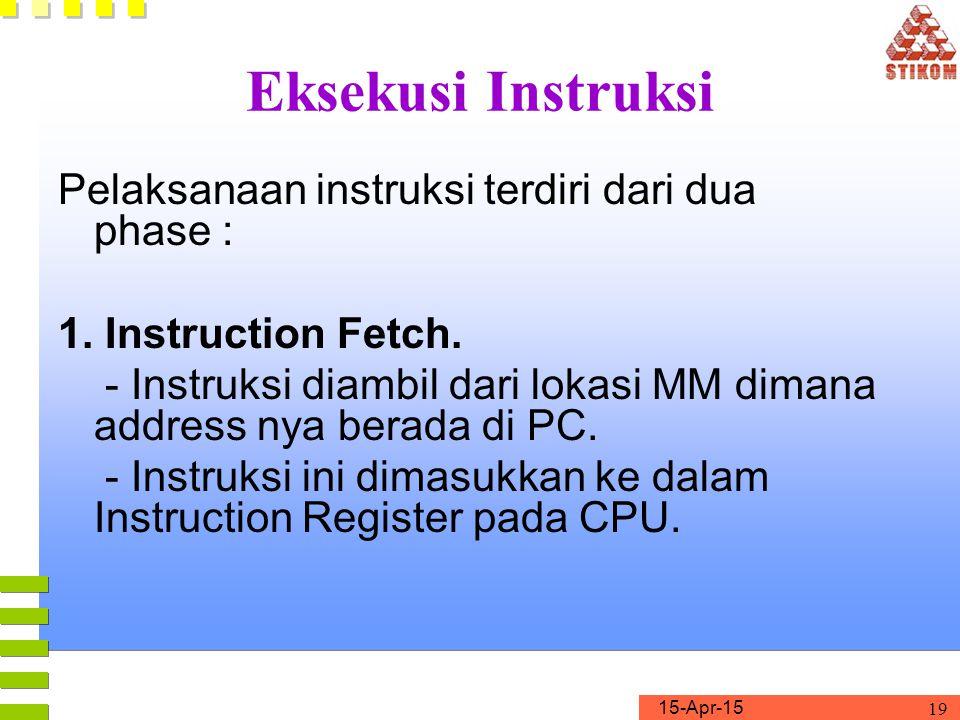 Eksekusi Instruksi Pelaksanaan instruksi terdiri dari dua phase :