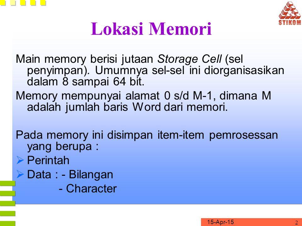 Lokasi Memori Main memory berisi jutaan Storage Cell (sel penyimpan). Umumnya sel-sel ini diorganisasikan dalam 8 sampai 64 bit.