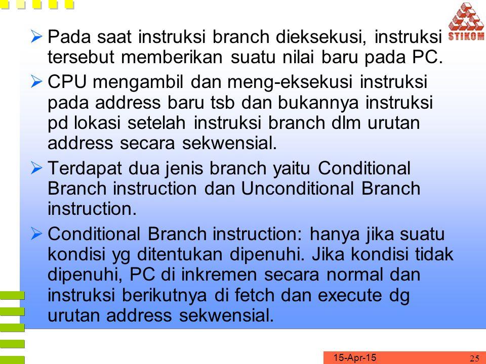 Pada saat instruksi branch dieksekusi, instruksi tersebut memberikan suatu nilai baru pada PC.