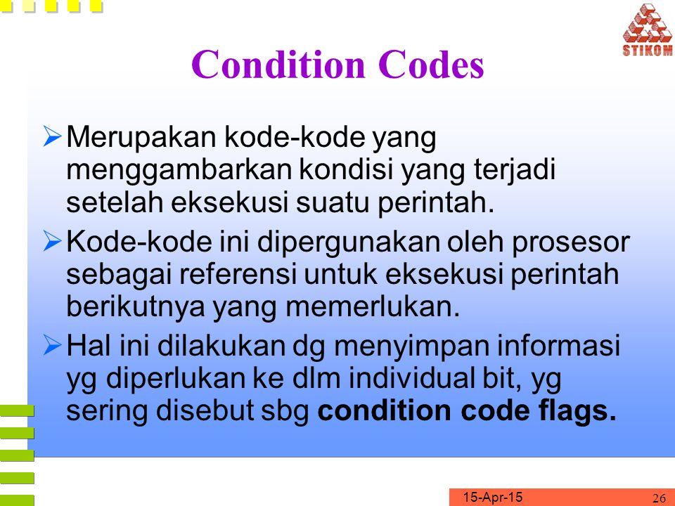 Condition Codes Merupakan kode-kode yang menggambarkan kondisi yang terjadi setelah eksekusi suatu perintah.
