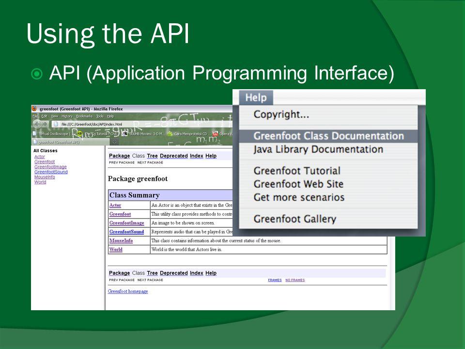 Using the API API (Application Programming Interface)